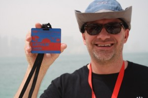 TEDxNaperville's Arthur Zards shows off his personalized TEDxSunnyvale badge
